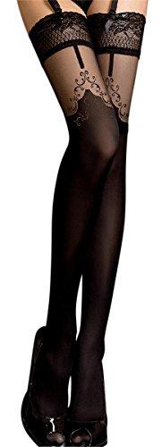 Unbekannt Ballerina Halterlose Damen-Strümpfe, schwarz, mit Muster, Strapsoptik