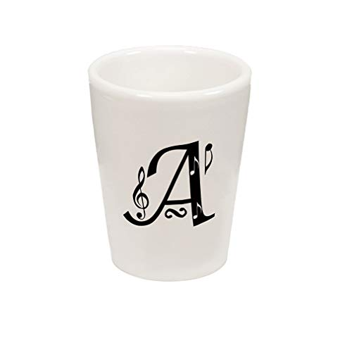 Style In Print Black A Music Notes Monogram Letter A Ceramic Shot Glass Cup ()