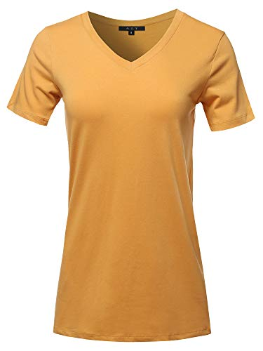 Basic Solid Premium Cotton Short Sleeve V-Neck T Shirt Tee Tops Ash Mustard S