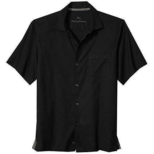 Tommy Bahama Men's Catalina Stretch Twill Camp Shirt (Black, L)