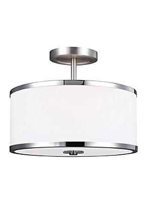 "Feiss SF335SN/CH Prospect Park Glass Semi Flush Ceiling Lighting, Satin Nickel, 2-Light (13""Dia x 10""H) 150watts"