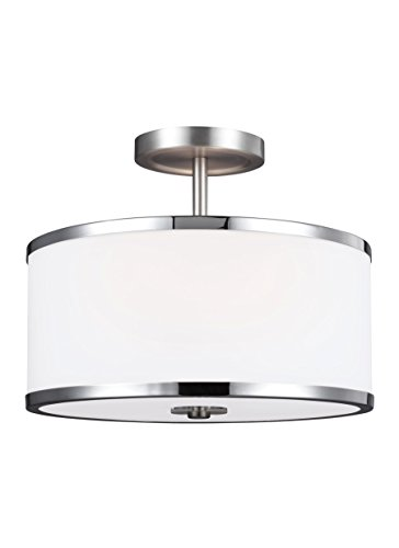 Feiss SF335SN/CH Prospect Park Glass Semi Flush Ceiling Lighting, Satin Nickel, 2-Light (13
