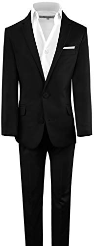 Black n Bianco Boys' First Class Slim Suits Black 16
