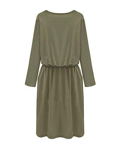 PU&PU Robe Aux femmes Ample Simple,Couleur Pleine Col en V Mi-long Polyester , brown-6 , brown-6