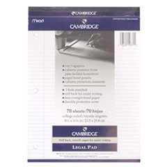 (MEAD PRODUCTS MEA59872 PAD LEGAL CAMBRIDGE WHITE 70 CT 8.5 INCH X 11 3/4 INCH COLL RULE 3HOLE)