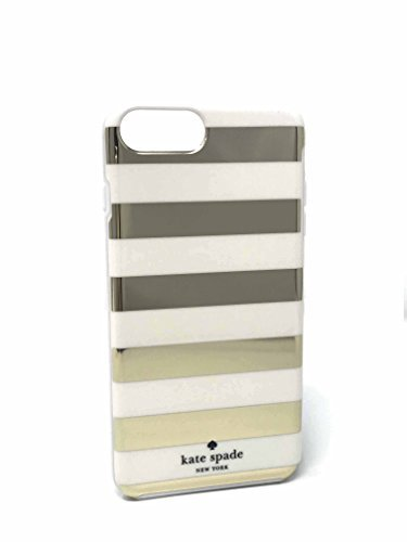 Kate Spade New York Candy Stripe Gold Cream Flexible Hardshell Case for iPhone 8 Plus & iPhone 7 -