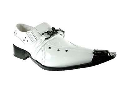 Golden Horse Men's H0709MB-White Metal Tip Shoes, White, 12