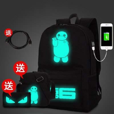 3Pcs/Sets Anime Luminous Black Backpacks USB Demon Pirate Smiley face Music Students Backpack for