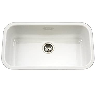 Houzer PCG-3600 WH Porcela Series Porcelain Enamel Steel Undermount Single Bowl Kitchen Sink, Large, White