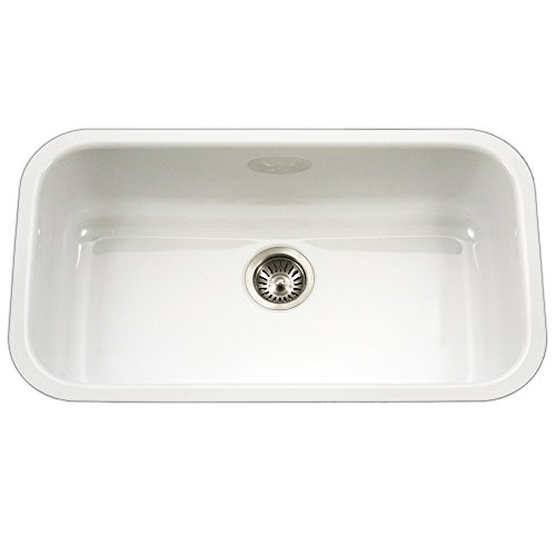 Houzer PCG-3600 WH Porcela Series Porcelain Enamel Steel Undermount Single Bowl Kitchen Sink, Large, White (Large Single Kitchen Sink)