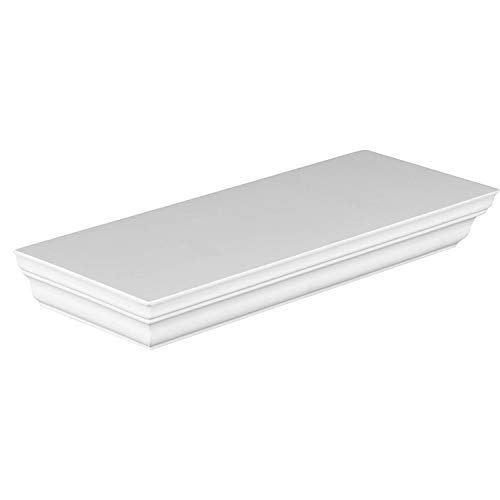Halter Single Rectangular Floating Shelf - Pristine White Finish, Sturdy & Highly Durable Construction. Easy Installation. Hardware & Screws Included. Holds 10 lbs. (5 kg) (11.5'' x 1.75'' x ()