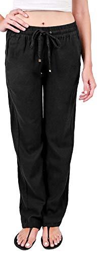 Foxy Grey Womens Linen Pants   Linen Pants for Women   Wide Leg Linen Pants for Women   Drawstring Linen Pants Women Black Medium -