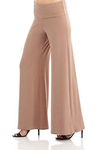 Rekucci Women's Ease Into Comfort Comfy Chic Knit Palazzo Lounge Pant w/Wide Waist