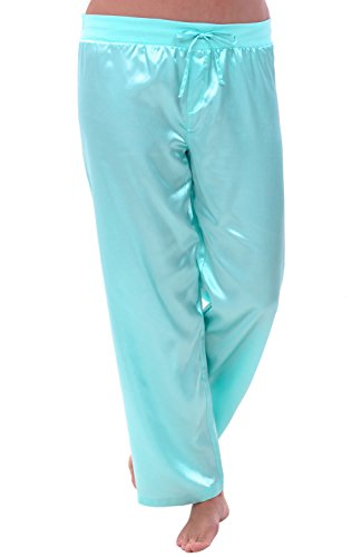 Del Rossa Women's Satin Pajama Pants, Silky Pj Bottoms, Large New Light Blue - New Lounge Large