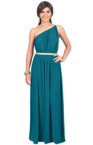 KOH KOH Plus Size Womens Long One Off The Shoulder Grecian Flowy Summer Formal Evening Bridesmaid Wedding Party Sexy Sundress Gown Gowns Maxi Dress Dresses for Women, Blue/Green Jade XL -