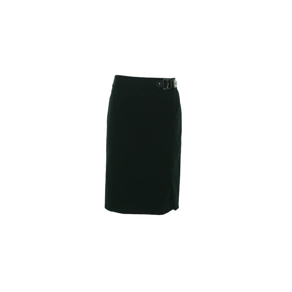 LAUREN Ralph Lauren Womens Black Buckle Waist Stretch Skirt 12