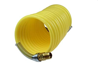 Coilhose Pneumatics N12-25 Coiled Nylon Air Hose, 1/2-Inch ID, 25-Foot Length with (2) 1/2-Inch Rigid Fittings