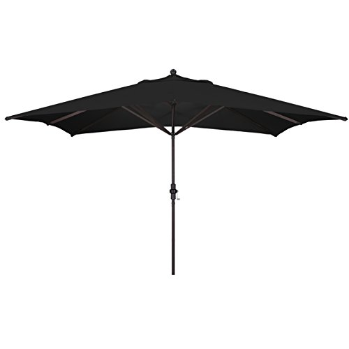 California Umbrella 11' x 8' Rectangle Aluminum Market Umbrella, Crank Lift, Bronze Pole, Sunbrella Black