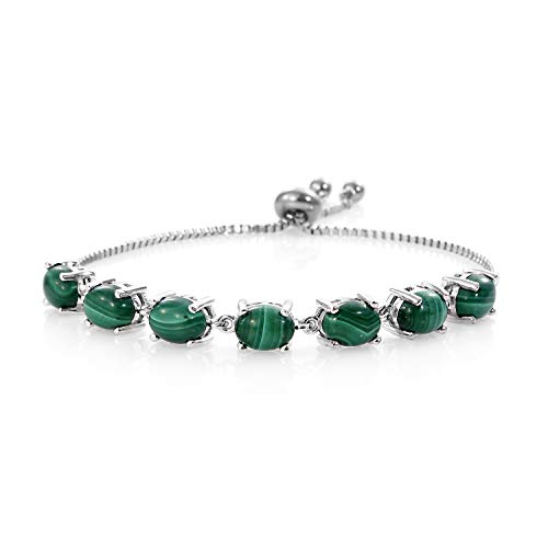 - Magic Bolo Bracelet Oval Malachite Stainless Steel Gift Costume Jewelry for Women Adjustable