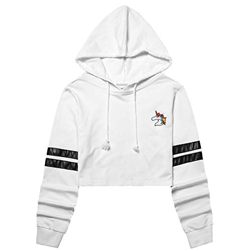 Perfashion Women's Unicorn Embroidered Cropped Hoodie Stripes Long Sleeve White Crop Tops Pullover ()