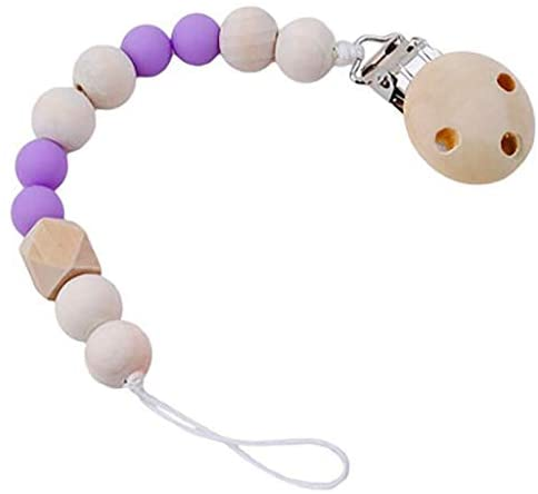 Baby Wood Beaded Pacifier Pacifier Chain Pacifier Clip For K