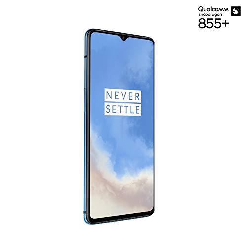 OnePlus 7T Smartphone Glacier Blue | 8 GB RAM + 128 GB Speicher | 16,6 cm AMOLED Display 90Hz Screen | Triple Kamera + Front-Kamera | Warp Charge 30