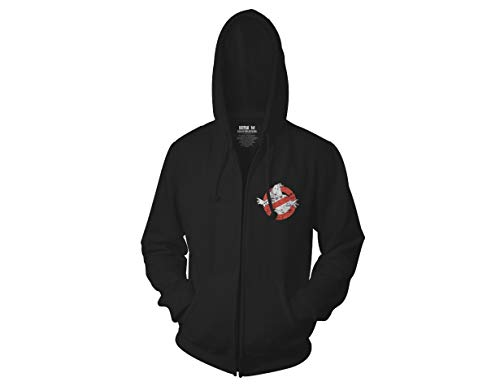 Ripple Junction Ghostbusters Adult I Ain't Afraid Distressed Full Zip Fleece Hoodie XL Black