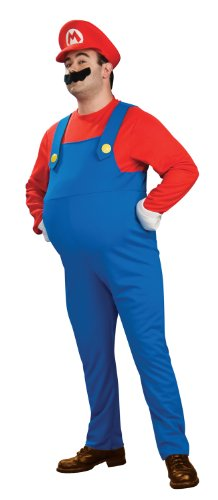 Super Mario Brothers Deluxe Mario Costume, Blue, Plus (Super Mario Costume For Men)