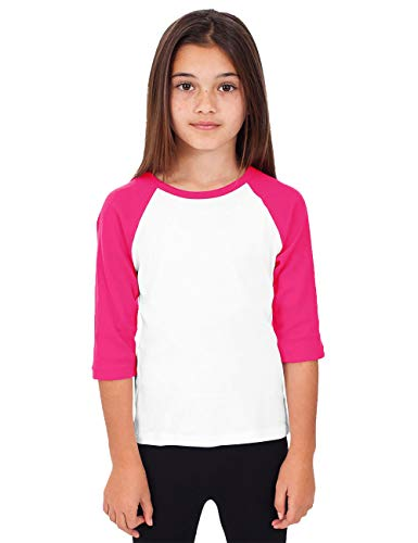 Hat and Beyond Kids Raglan Jersey Child Toddler Youth Uniforms 3/4 Sleeves T Shirts (Large (8-9 Year), (Kid) 5bh03_White/Pink) ()