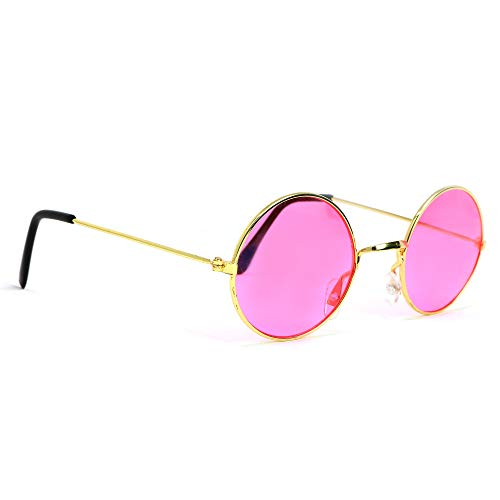 Skeleteen John Lennon Hippie Sunglasses - Pink 60's Style Circle Glasses - 1 -