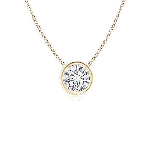 Bezel-Set Round Diamond Solitaire Pendant in 14K Yellow Gold (5.1mm Diamond)
