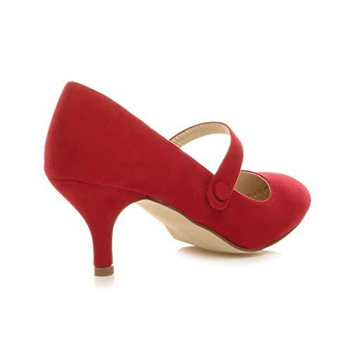 Moyen Soir Rouge Travail Ajvani Élégant Taille Talon Haute Femme Sangle Chaussure Daim Babies Fête 4H8Tq5w8n