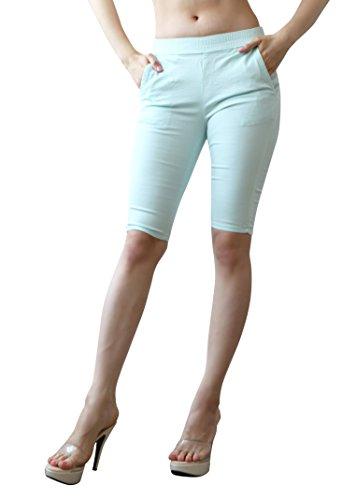 Elastic Waist Twill Capris (Mascara Women's Colored Stretch twill Elastic Waist Bermuda Shorts Mint)