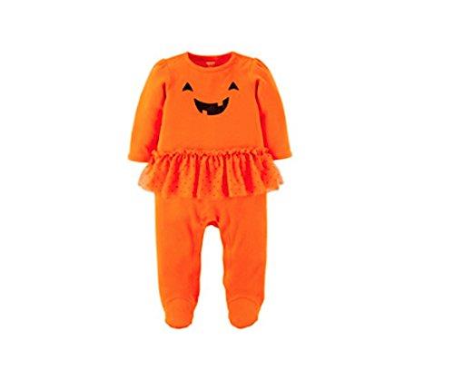 Carter's Just One You Baby Girls' Halloween Pumpkin Tutu Sleep N' Play- Orange (6 -