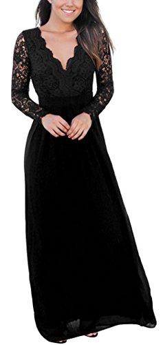 Lukis Damen Brautjungfer Abendkleid Spitzen Lang Ballkleider Partykleid Schwarz GSzYmOdC