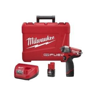 Milwaukee 2452-22 M12 Fuel 1/4 Impact Wrench Kit W/2 Bat ()