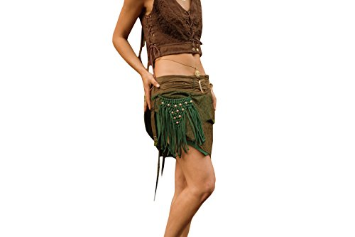 Alessia Studded Pocket Skirt- Stud Gypsy Festival Goa Festival Wrap Skirt With Belt and Pockets (Green) by AryaClothing