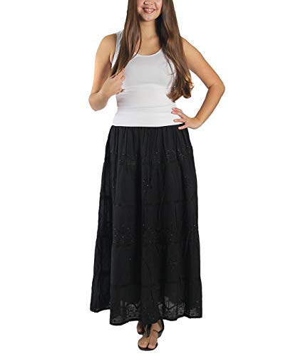 KayJayStyles Full Length Womens Solid Embroidered Gypsy Bohemian Long Cotton Skirt (Black)