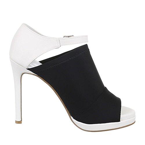 Ital-Design Damen Schuhe, Z91051, Pumps High Heels Sandaletten Schwarz Weiß