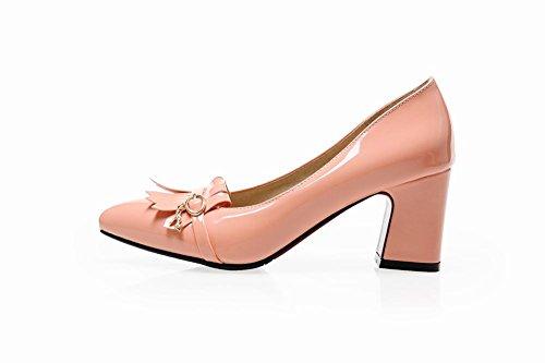 Latasa Womens Fashion Tassel Pointed-toe Mid Chunky Heel Dress Pumps Shoes Pink JpeIPT