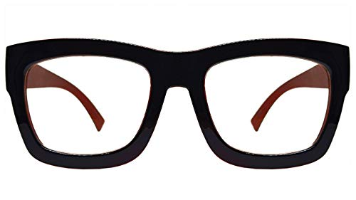 Vintage Inspired Geek Oversized Square Thick Horn Rimmed Eyeglasses Clear Lens (BLACK BROWN 30102, Clear)