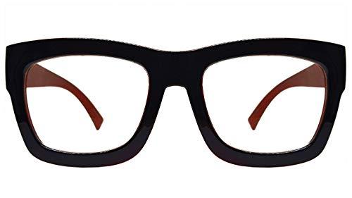 Vintage Inspired Geek Oversized Square Thick Horn Rimmed Eyeglasses Clear Lens (BLACK BROWN 30102, ()