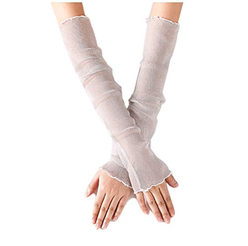 NicSO 1 Pair Long Lace Gloves Arm Cooler Sleeves UV Protection Sunscreen Cuffs