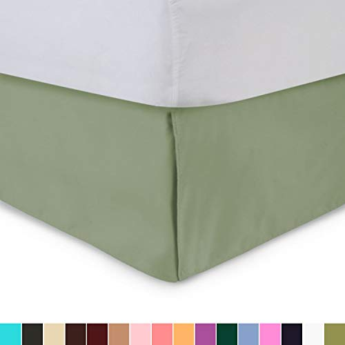 Box Pleated Bed Skirt Tailored Luxury 100/% Cotton Dust Ruffle Bed Skirt Sage