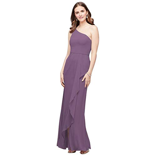 One-Shoulder Chiffon Bridesmaid Dress with Cascade Style F20011, Wisteria, 20