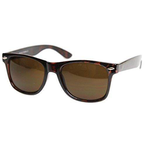 MLC Eyewear Vintage 80's Retro Classic Horn Rimmed Polarized Unisex Sunglasses - Tortoise - Brown Tortoise