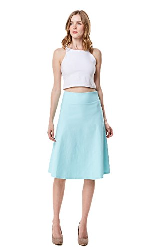 MoDDeals High Waist A-Line Below The Knee Flared Midi Skirt Stretch Woven, Aqua, ()