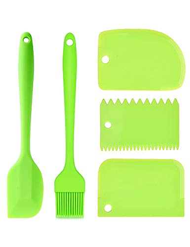 ThryBite Silicone Spatula Set 5 Pcs Heat Resistant Bench Scraper for Baking and Pastry Basting Cooking Brush