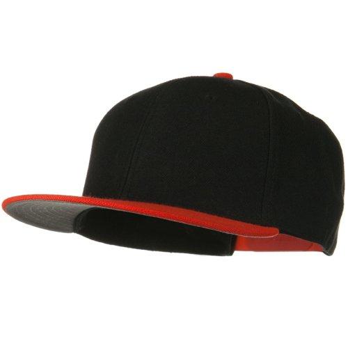 Otto Caps Wool Blend Flat Visor Pro Style Snapback Cap - Orange Black (Ultrafit Wool Blend Cap)