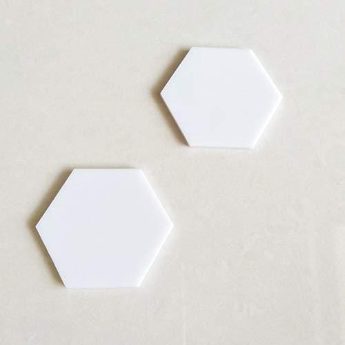 "YongPan 20pcs White Gloss Acrylic Hexagon Sheet, Acrylic Coaster Hexagon Place Card Names Wedding Signs, Crafting Mosaic & Wall Tiles (White, 3"")"